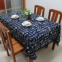 Longzhi blau Bedruckten Tuch Folk Wind Art Tischdecke Tischdecke Durchmesser 150 Cm