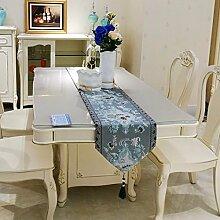 Longzhi der Europäischen und Amerikanischen Coffee Table Runner europäischen Luxus Garten Tisch Strip dekorative Tuch Deckchen Tischdecke B 32 * 270 Cm