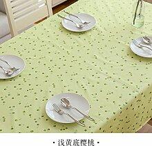 Longzhi frische kleine Tischdecke aus Kunststoff PVC wasserdicht Anti verbrühen Einweg Tischdecke Gelb Kirsche 140 * 200 cm.