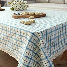 Longzhi Stoff Tischdecke aus Baumwolle tartan plaid Tischdecke pastorale Frische Kleine B 100*100 Cm