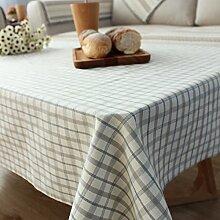 Longzhi Stoff Tischdecke aus Baumwolle tartan plaid Tischdecke Pastorale kleine Frische ein 100*100 Cm