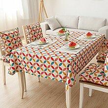 Longzhi Wave Streifen Diamond Tischdecke aus Baumwolle Tuch Böhmen Stil C 140 * 140 Cm