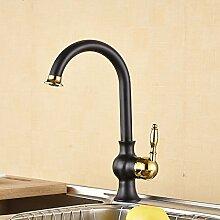 LongZI Continental-weiten Kupfer Schwarz auf Waschbecken mit warmen und kalten wc Waschbecken Jugendstil Waschtisch Armatur Dusche, cucurbitaceen Küche)