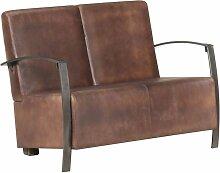 Longziming - 2-Sitzer-Sofa Braun Echtleder - Braun