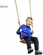 LOO LA Holz Kinderschaukel mit Seil, Brettschaukel
