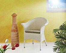 Loom Sessel Charlotte weiss Rattanstuhl Korbsessel Armlehnstuhl ohne Kissen Stuhl Loom