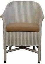 Loom-Sessel in der Farbe Vintage Weiss inkl. Polster Braun aus echtem Loom-Geflech