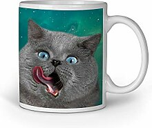 Loomiloo Tasse Licking Grey Cat Tassen