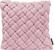 LOOPING Kissenhülle uni mit Reißverschluss von Magma Heimtex mit Flechtstruktur in pastellfarben, hochwertiges Wohnaccessoire, einfarbiges Kissen, Kissenbezug, Heimtextilien mit Geflecht, Flechtkissen (Kissenhülle ca. 40 x 40 cm, Rose)