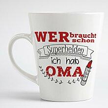 Loose Werbetechnik Kaffeetasse 375ml Konisch Aufdruck: Wer Braucht Schon Superhelden Ich Hab OMA Geschenkidee für Oma