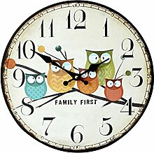 LOSORN ZPY Kinderzimmer Eule Uhr Analog Vintage Wanduhr für Jungen Mädchen