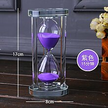 Lotefong Der Timer 15 Minuten zylindrische Kristallglas Dekoration Dekoration, Violett Sand für 15 Minuten