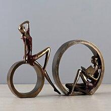 Lotefong Einfache abstrakte Lesen Mädchen Ornamente Heimtextilien Studie Dekorative Kunst Retro Möbel Geschenk Mädchen, ein Paar von Rot und Gold lesen Mädchen