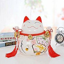 Lotefong Keramik - Glückliche Katze Schweinchen Bank Inneneinrichtungsgegenstände Dekoration Ornamente Kreative Geschenke - Shop,Beide Hände