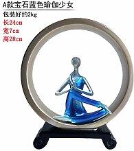 Lotefong Kreative Hochzeit Geschenk im Europäischen Stil Wohnzimmer TV Cabinet Cabinet Heimtextilien Dekoration Dekoration Beauty Yoga, Saphir Blau Yoga Girl
