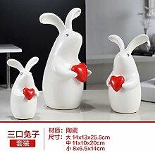 Lotefong Wohnzimmer Möbel Schrank Dekoration Regal Home Ausstattung Familie Dekorationen Zubehör, drei Kaninchen (Hong Xin)