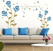 Loterong Die Blaue Blume Wand Warm Fernseher Sofa Hintergrund dekorative Aufkleber können Entfernen selbstklebender Wand Aufkleber, blaue Blume, Groß