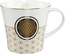 Lotus Becher Tasse Blume des Lebens weiß mit