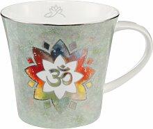 Lotus Becher Tasse Om grün mit Platinauflage