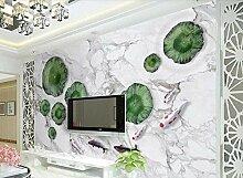 Lotus Fish White Tapete Vlies Tapete 3D-Effekt