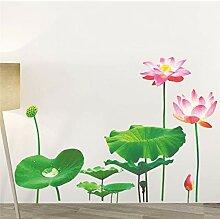 Lotusblatt Teich 3D Fisch Blumen Wandaufkleber