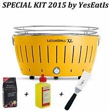 LotusGrill XL Set 2015 von YesEatIs mit XL-Tischgrill, Holzkohle, Anzündegel und Spachtel, flexibler Grill für Fleisch und Fisch, in 6Farben erhältlich gelb