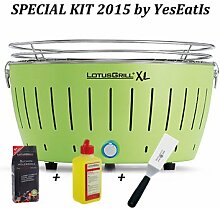 LOTUSGRILL XL Special Edition 2015 by YesEatIs - LotusGrill Holzkohlegrill XL + 1Kg LotusGrill Buchen-Holzkohle + LotusGrill Brennpaste 200 ml + Grill Spatula - GRÜN XL