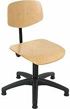 Lotz Arbeitsdrehstuhl 6130.12, Sitz und Rücken Buche, mit Bodengleiter