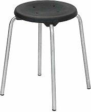 Lotz Stapelhocker 3250.31, Gestell Edelstahl, Sitz PU Kunststoff schwarz, Höhe ca. 50 cm