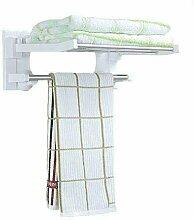 loud-thinkers ® Faltbar Bad Handtuchhalter Regal Kunststoff und weiß Farbe mit Stangen aus Edelstahl und Super Saugnapf