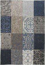 Louis de Poortere Teppich Vintage Blau Denim
