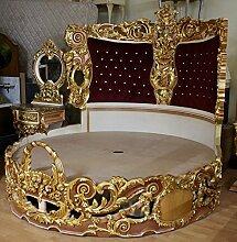 LouisXV Barock Bett Rokoko Doppelbett Rund Gold