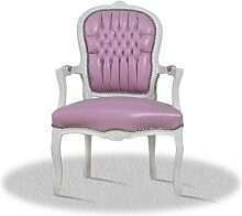 LouisXV Barock Sessel, weiß mit rosa Skai Bezug