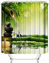 LOUMVE Polyester Bambus Duschvorhang Für