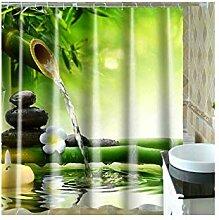 LOUMVE Polyester Wasser Bambus Duschvorhang Für
