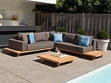 Lounge Paradiso Gartenlounge Set 12-tlg. Loungegruppe Garten Loungemöbel Lounge Gartenmöbel Terrassenmöbel Loungegarnitur - Exotan - Teak & Stoffbezug Nanotex Grau
