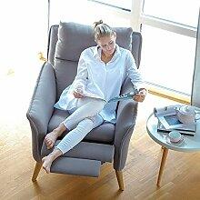 Lounge-Relax-Sessel + Hocker als Ohrensessel modern im Retrodesign mit Schlaffunktion Fernsehsessel Stillsessel Ruhesessel TV-Sessel Stuhl Relaxstuhl Liege Sessel mit verstellbarer Rückenlehne und Fussteil Landhausstil