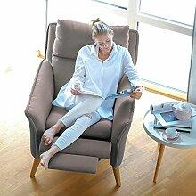 Lounge-Relax-Sessel skandinavisch + Hocker als Ohrensessel modern im Retrodesign mit Schlaffunktion Stillsessel Fernsehsessel Ruhesessel TV-Sessel Stuhl Relaxstuhl Liege Sessel mit verstellbarer Rückenlehne und Fussteil Landhausstil
