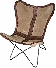 Lounge-Sessel Leder dunkelbraun, Leinwand beige und Metall schwarz