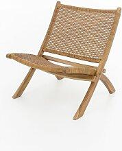 Lounge Sessel Teak Holz Leder Stuhl Clubsessel