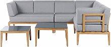 Lounge Set Grau Heller Holzfarbton Aluminium