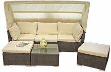 Lounge-Sofa SANTIAGO coffee Alu / Kunststoffgeflecht incl. 3 Hocker 970235