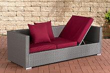 Lounge-Sofa Solano-grau-Rubinrot