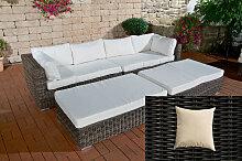 Lounge-Sofa Terrassa-rund_schwarz-Cremeweiß