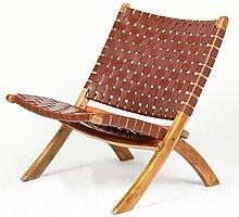Lounge Stuhl ATANI Leder Brown 65x75x75cm (BxHxT)
