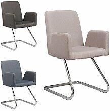 Lounge Stuhl Freischwinger Beatrice mit Armlehnen - Küchenstuhl - viele Farben - Retro Look - Konferenzstuhl - Barstuhl - Esszimmerstuhl - Stoffsessel (Beige)