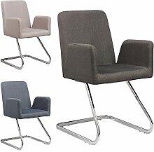 Lounge Stuhl Freischwinger Beatrice mit Armlehnen - Küchenstuhl - viele Farben - Retro Look - Konferenzstuhl - Barstuhl - Esszimmerstuhl - Stoffsessel (Grau)