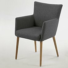 lounge-zone Armstuhl Design Sessel DELFT Holzgestell Stoffbezug dunkelgrau 10911