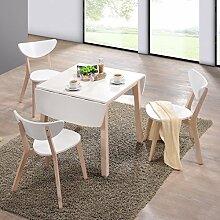lounge-zone Esstisch klappbar multifunktionales Raumwunder Eingeklappt 75cm Ausgeklappt 120cm SALITA Tischplatte weiß Beine Holz natur Küchentisch Tisch 13625