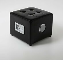 lounge-zone Lounge-Hocker BASS Sitzhocker mit Subwoofer Kunstleder schwarz 43x43x37,5cm 8572